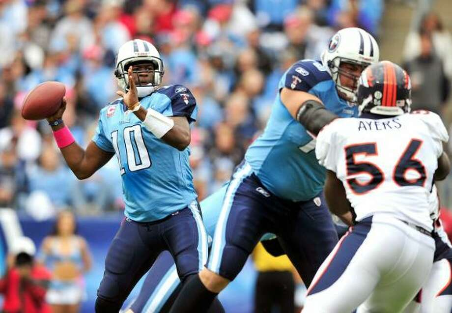 Vince Young cites a greater comfort level with the offense as the biggest reason for his improvement. Photo: Grant Halverson, Getty Images