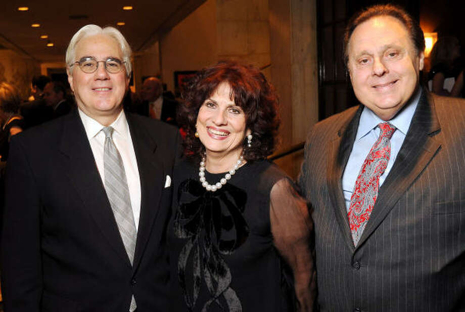 From left: Keynote speaker John Mariani with honorees Donna and Tony Vallone at the Texas Legends Gala Photo: Dave Rossman, For The Chronicle