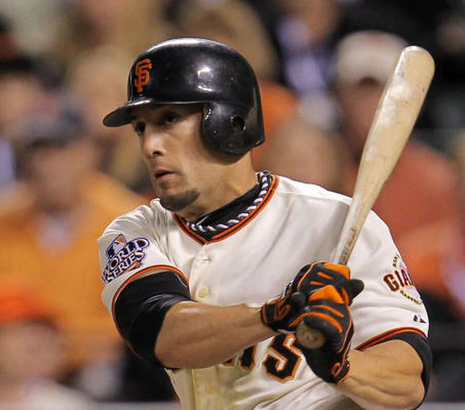 Giants outfielder Andres Torres is among players sporting a necklace, or rope, to gain an edge in the World Series. Photo: Michael Macor, San Francisco Chronicle