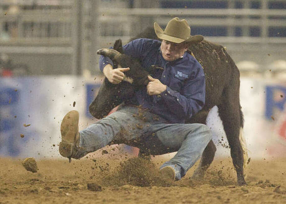 Hunter Cure showed his steer wrestling skills at RodeoHouston in 2009. Photo: Steve Campbell, Chronicle