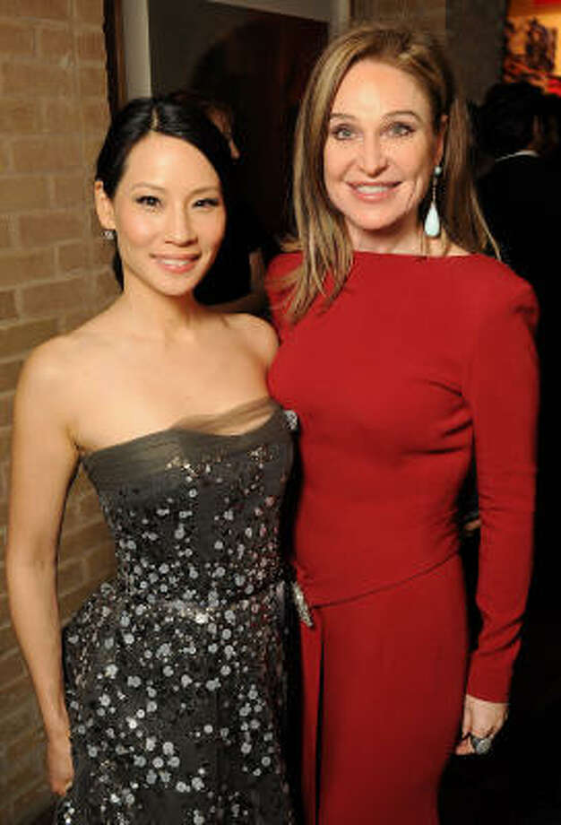 Lucy Liu and Becca Cason Thrash at UNICEF fundraiser at Thrash's home. Photo: Dave Rossman, For The Chronicle