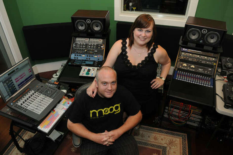 MUSIC TO THEIR EARS: Heights residents Paul and Mairi Cox, both 29, recently opened a recording studio in the Heights. Photo: Jerry Baker, For The Chronicle