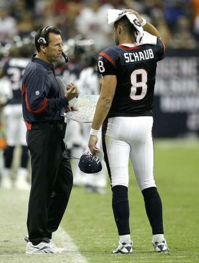 Gary Kubiak and the Texans were one play from making the playoffs in 2009. Photo: Bob Levey, Getty Images