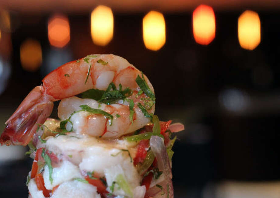 The ceviche with shrimp and snapper marinated in citrus acid Photo: Billy Smith II :, Chronicle