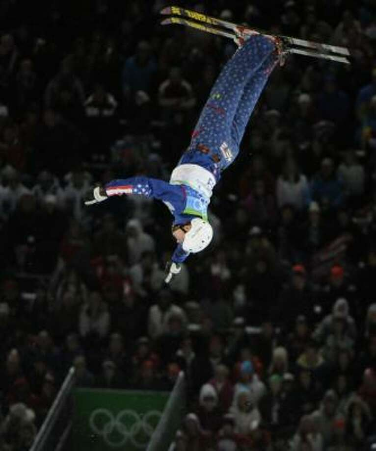 "Jeret Peterson's best shot at winning the gold medal in the men's aerials finals is to land his signature jump, the ""Hurricane"". Photo: Mark J. Terrill, AP"