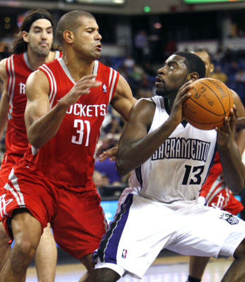 Shane Battier's defense on Kings guard Tyreke Evans (13) was pivotal in Sunday night's victory. Photo: Steve Yeater, AP