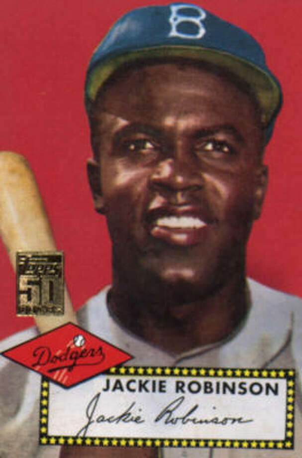 A 1952 Jackie Robinson baseball card. Another card featuring the player was sold recently at a Dallas-area store.