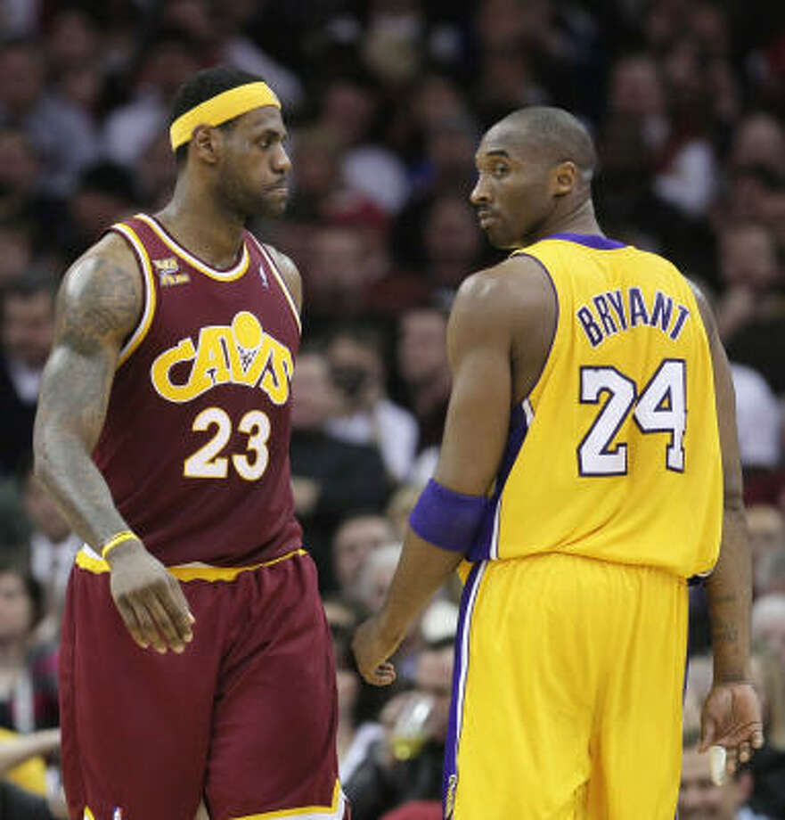 Kobe Bryant, right, might lead the Lakers to another title this season, but it's clear the NBA's future belongs more to the Cavaliers' LeBron James. Photo: Tony Dejak, AP