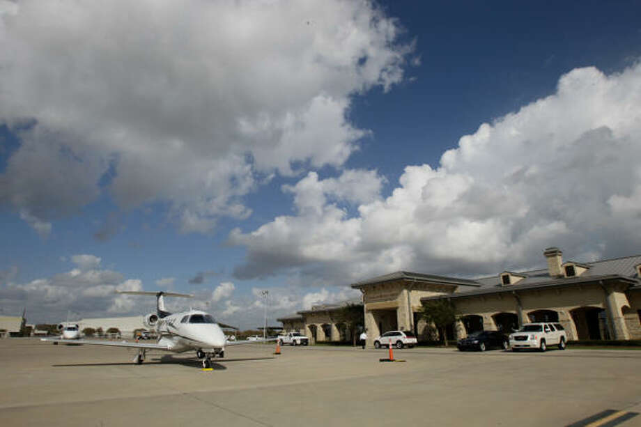 At Sugar Land Regional Airport, the grass landing strip and temporary control tower are long gone. Visitors instead find a modern air terminal. The airport is the area's third busiest in terms of operations, behind Hobby and Bush Intercontinental. Photo: Julio Cortez :, Chronicle