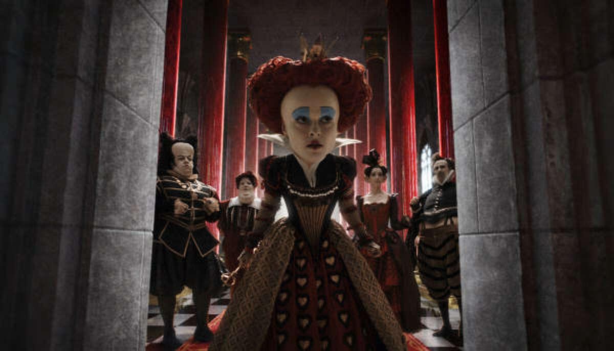 Helena Bonham Carter is shown in a scene from the Alice in Wonderland.