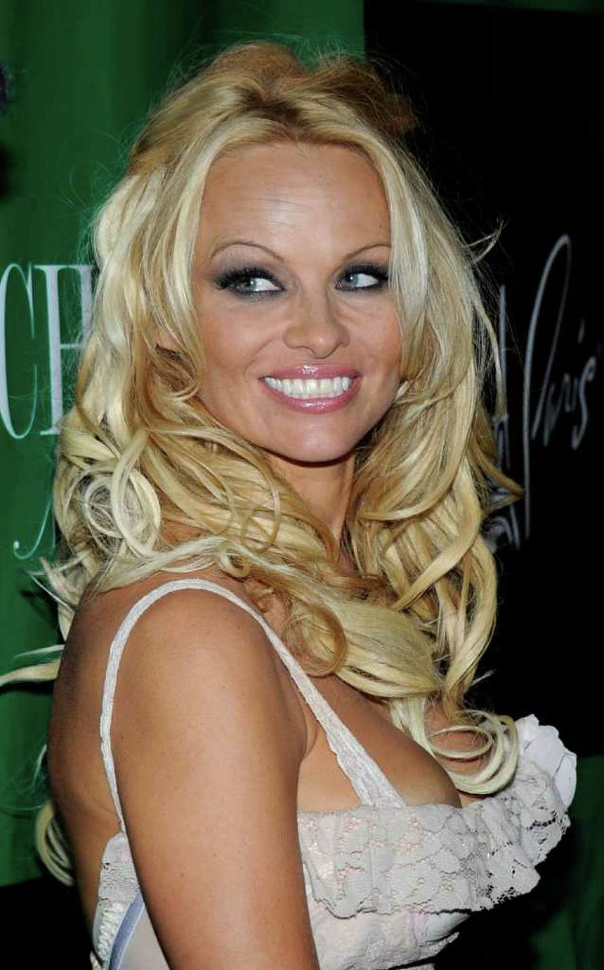 Actress Pamela Anderson arrives at the Chateau Nightclub & Gardens at the Paris Las Vegas to celebrate her birthday in Las Vegas, Nevada. Anderson turned 44.