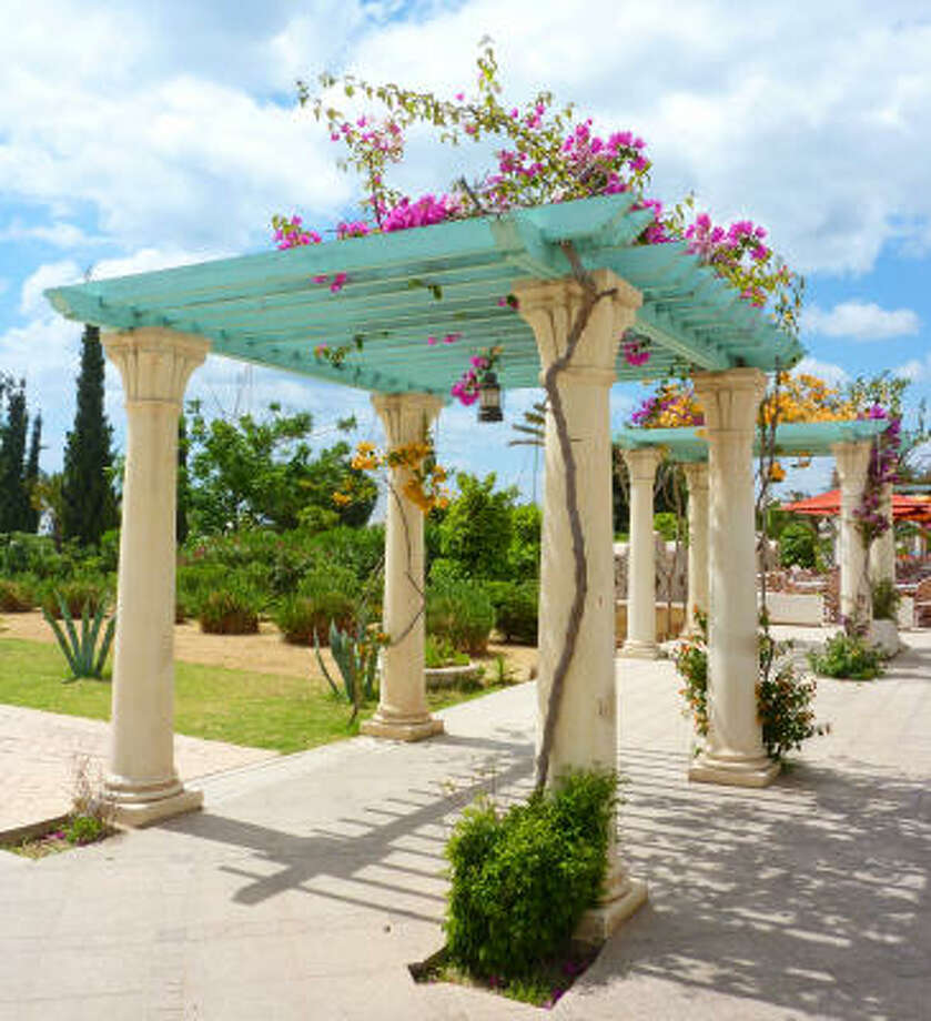 CLEVER CANOPY: A pergola uses heavy vertical posts and horizontal purlins and joists for the top canopy. It works well with climbing plants with heavier stems or a trunk because there is no supporting latticework on the sides. Photo: Photlook - Fotolia