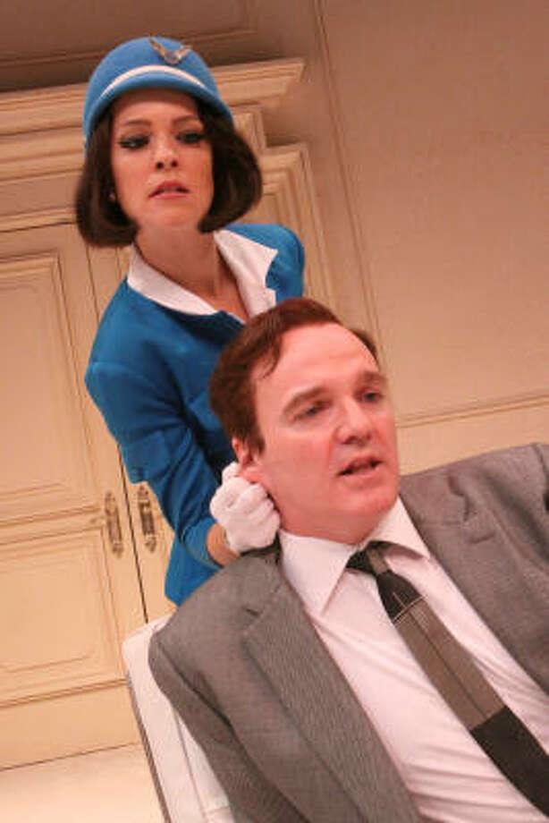 Gabriella (Elizabeth Bunch) is justifiably suspicious of Bernard (James Black) in Boeing-Boeing. Photo: Bill Olive