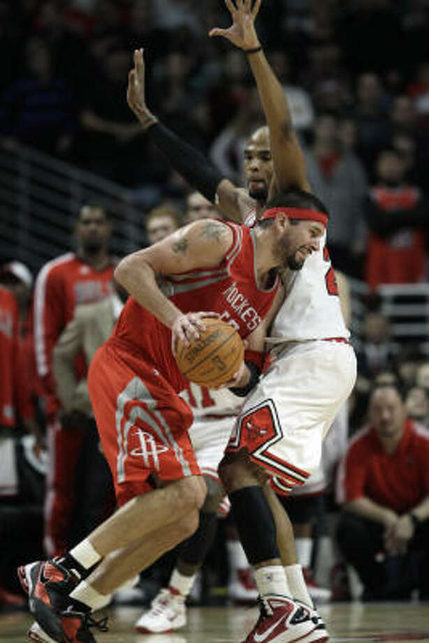 Brad Miller has made up for much of the loss of offense that came with Aaron Brooks' and Yao Ming's injuries. Photo: Nam Y. Huh, AP