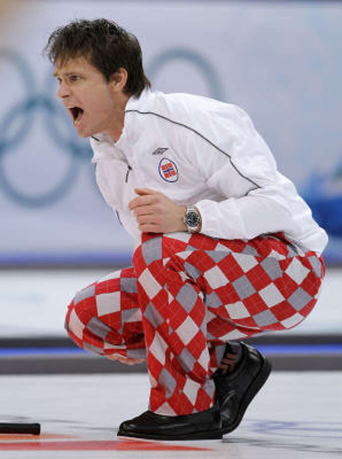 Norway's Skip Thomas Ulsrud sports the curling team's uniforms for the Vancouver Games. Photo: Robert F. Bukaty, AP