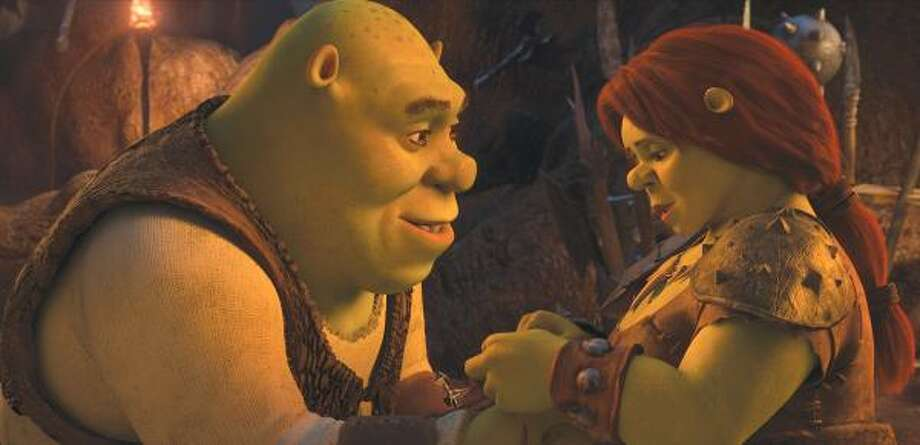 Shrek, voiced by Mike Myers, left, and Fiona, voiced by Cameron Diaz, are shown in Shrek Forever After. Photo: Paramount Pictures