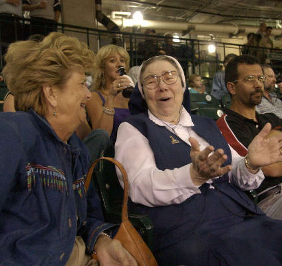 In retirement,  Sister Damian Kuhn lived across the street from Minute Maid Park and rarely missed a home game. Photo: Melissa Phillip, Chronicle File