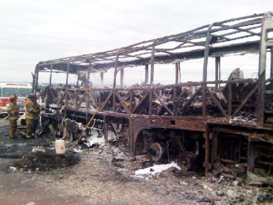 Though the 25 students on this bus lost all their belongings — including band instruments, clothing and souvenirs — they, their seven chaperones and the driver escaped injury. Photo: Brandon Richards, KPLC (Lake Charles, La.)