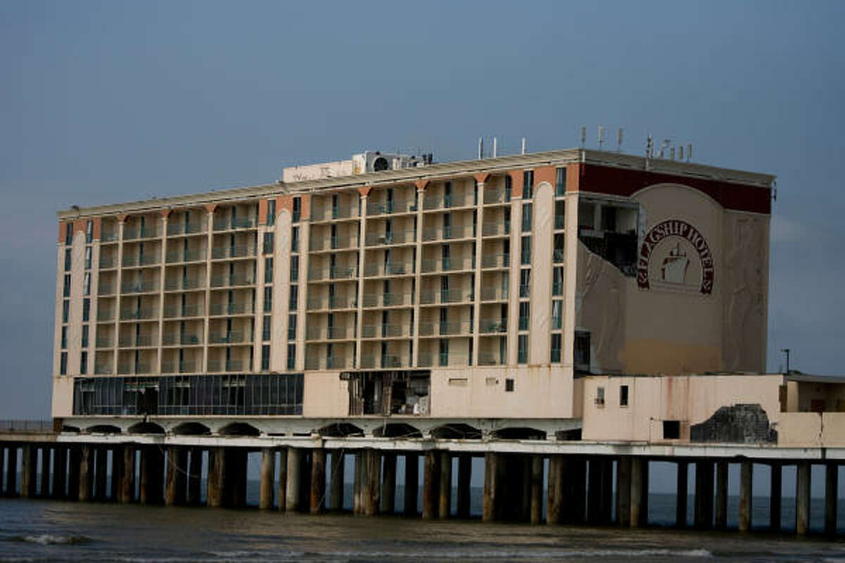 The Flagship Hotel, a Seawall landmark remains in disrepair after suffering damage from Hurricane Ike in 2008.