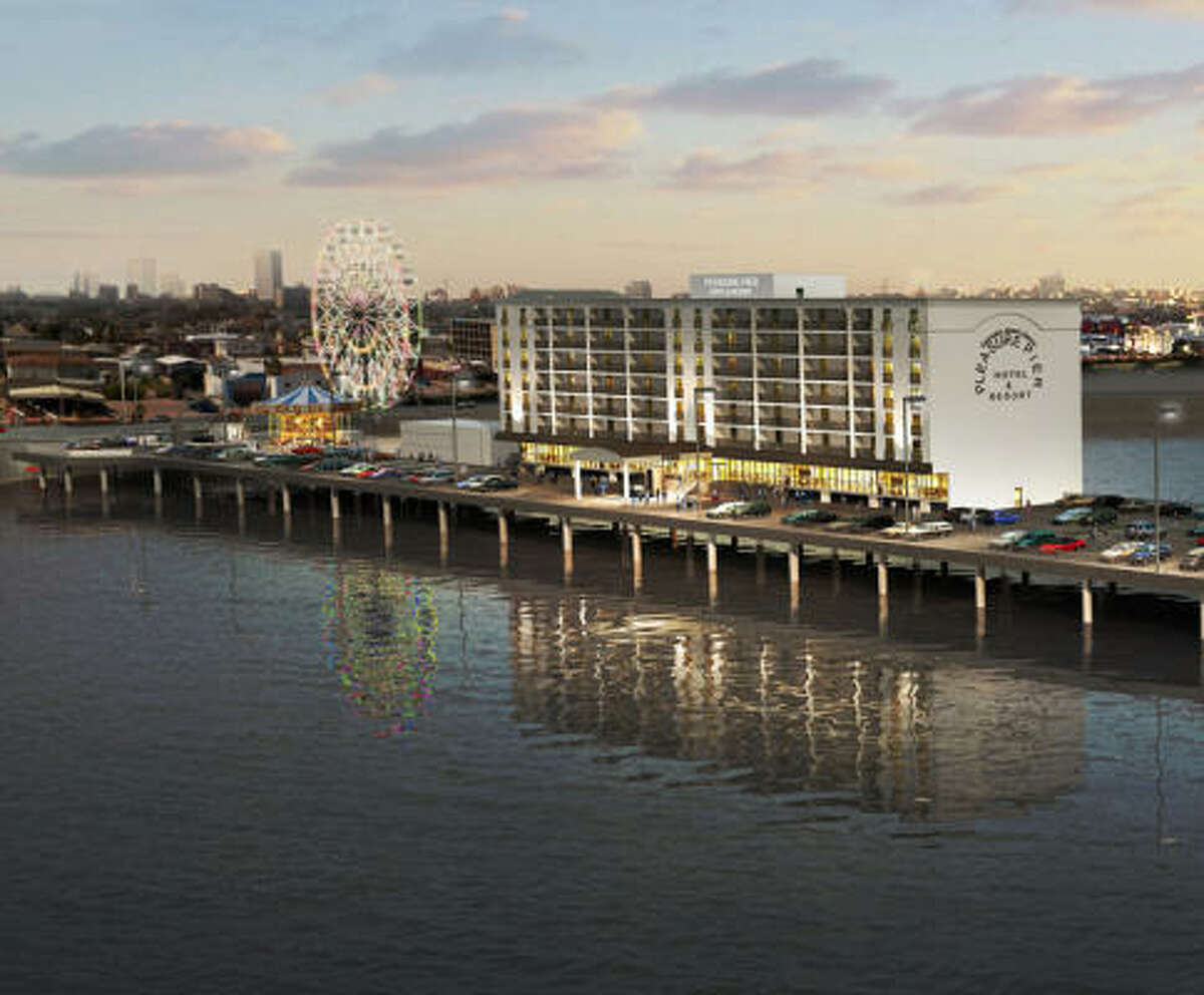 Detail of a computer rendering of the Pleasure Pier project at the site of the Flagship Hotel on the Seawall in Galveston.