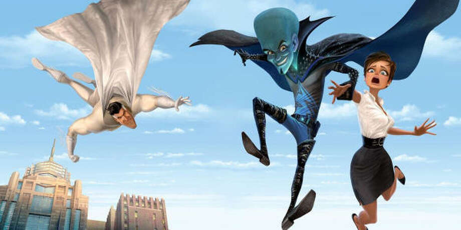 Brad Pitt voices Metro Man, left; Will Ferrell voices Megamind; and Tina Fey voices Roxanne Ritchi in Megamind. Photo: DreamWorks Animation LLC