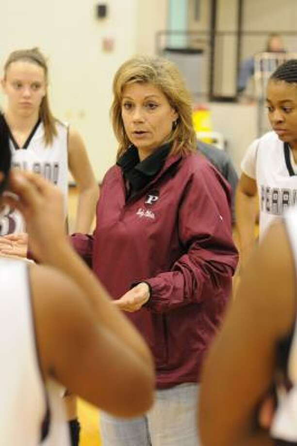 Pearland girls basketball coach Donna Vacek during a 52-42 home win against Alvin on 12-17-10. Photo: L. Scott Hainline, For The Chronicle