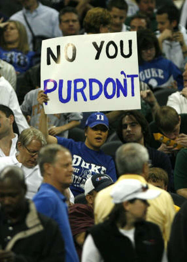 Duke fans followed their team all the way to Reliant Stadium to root against Purdue in the Sweet 16. Photo: James Nielsen, Chronicle