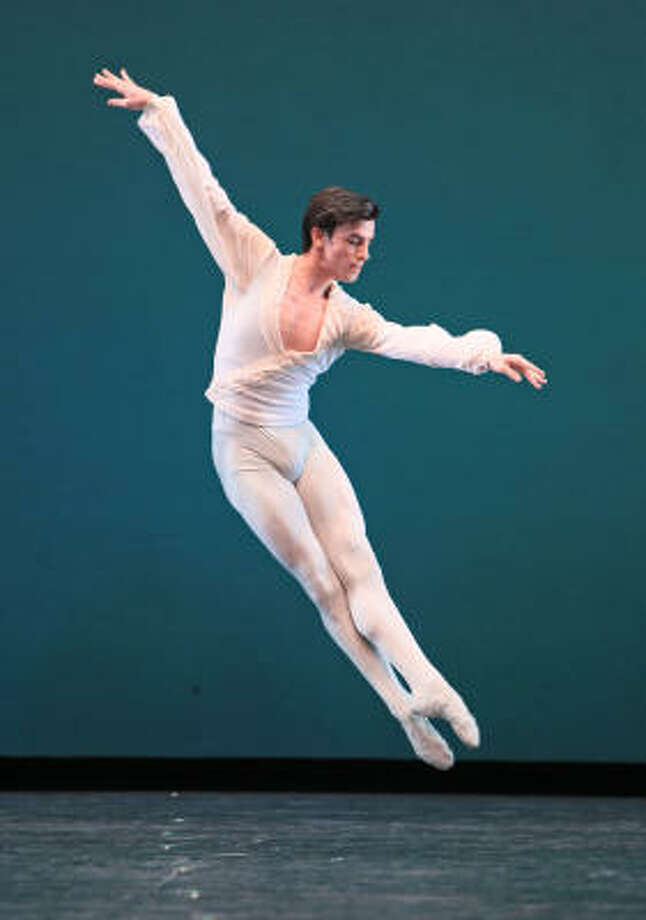 Joseph Walsh flies elegantly through Houston Ballet's company premiere of George Balanchine's Ballo della Regina. Photo: Amitava Sarkar