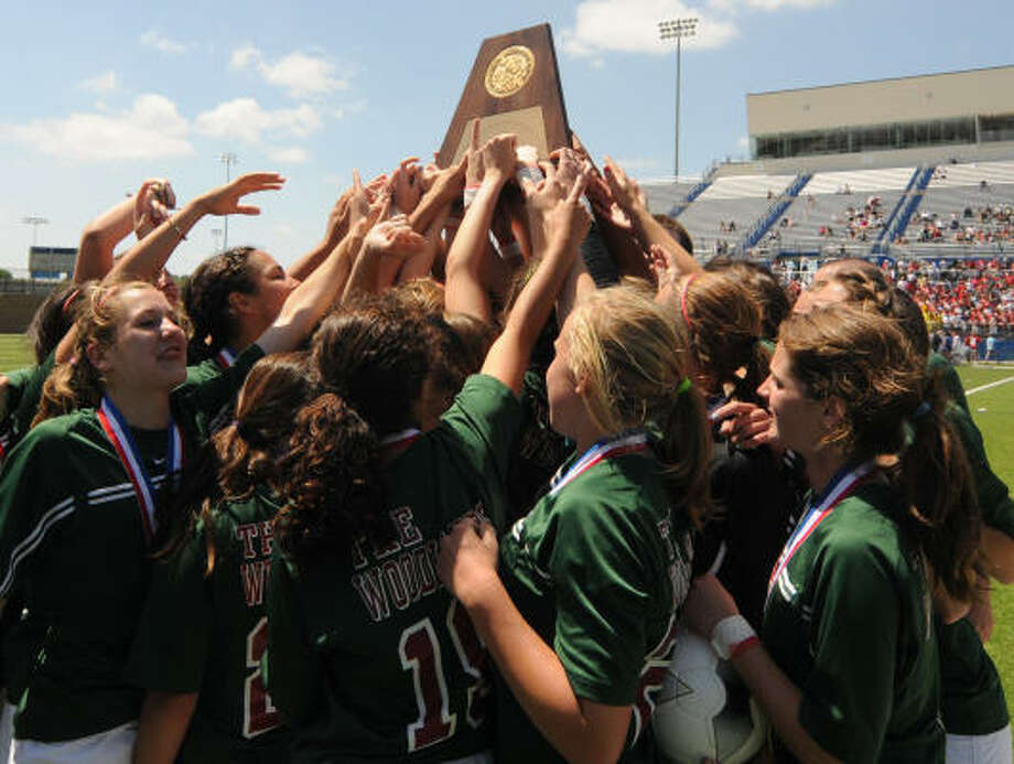 The girls soccer squad won The Woodlands' third state team title of the school year. Photo: Patrick Meredith, For The Chronicle