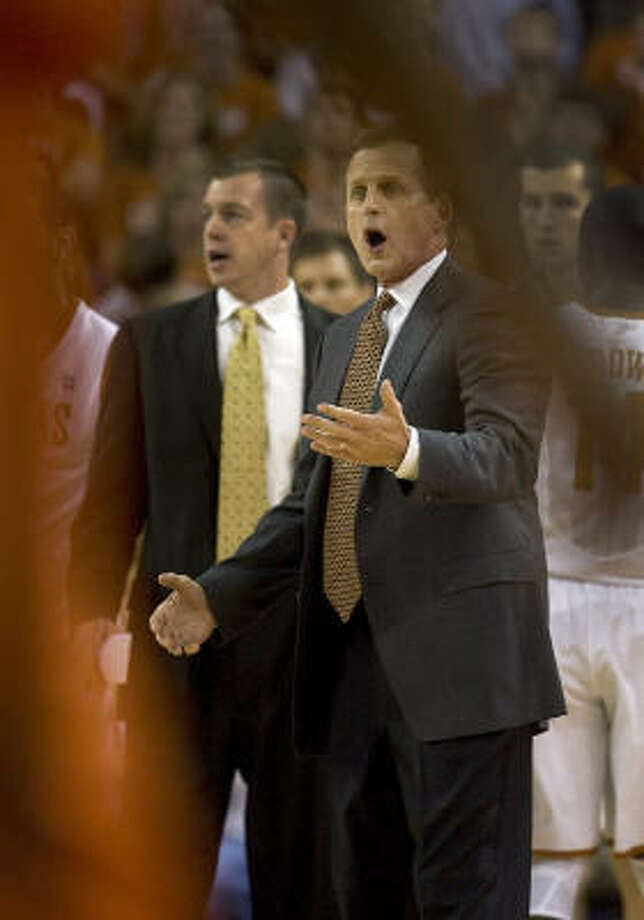 Texas head coach Rick Barnes reacts to an official's call during first half action against Sam Houston State on Tuesday night. Photo: Larry Kolvoord, AP