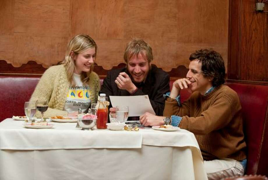 "Greta Gerwig, Rhys Ifans, center, and Ben Stiller play characters who each are emotionally damaged in some way in ""Greenberg."" Photo: Wilson Webb, FOCUS FEATURES"