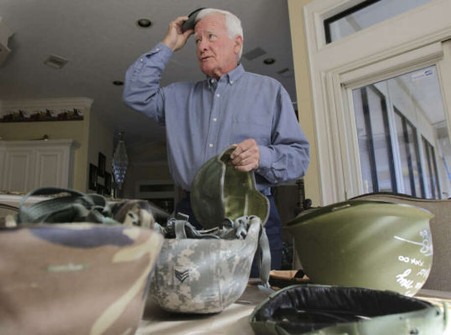 Bob Meaders started Operation Helmet, a nonprofit that provides free helmet upgrades to troops, after learning that his grandson's unit had deficient helmets in 2004. Photo: Julio Cortez, Chronicle