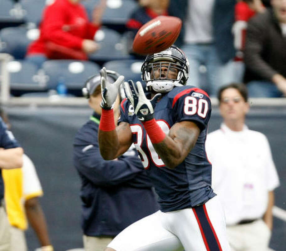 In his past three games against the Titans, Texans receiver Andre Johnson is averaging 144.7 yards receiving. Photo: Nick De La Torre, Chronicle