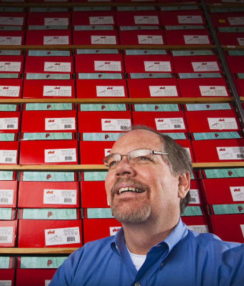 University of Houston professor Steven Koch runs an online company that sells parts for classic cars and other driving equipment. He retired in order to teach in 2002 and then opened his car-equipment website in 2008. Photo: Eric Kayne, Houston Chronicle