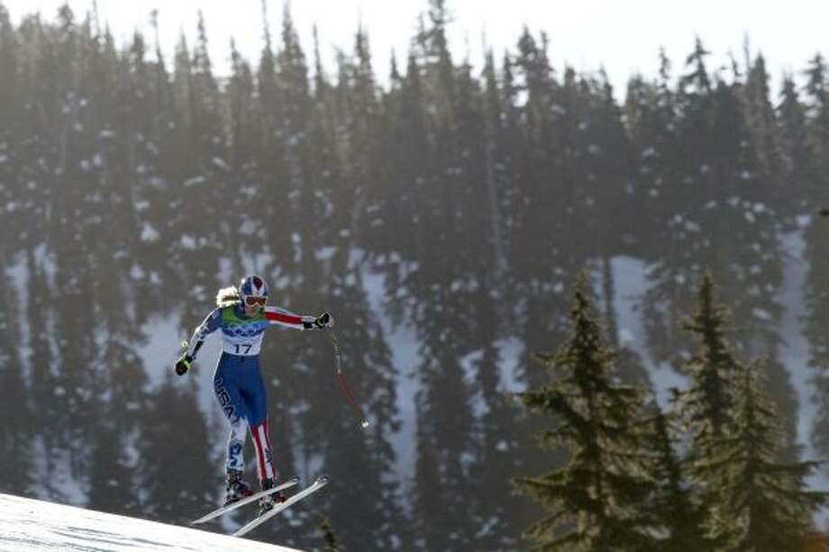 Lindsey Vonn goes airborne as she speeds down the course. Photo: Luca Bruno, AP