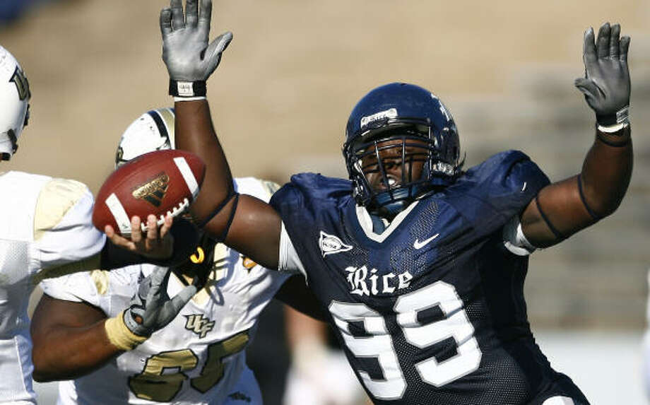 Rice's Michael Smith was 14 when his brother Andrew died in an auto accident. His last visit to the UNT campus was in 2005, when he walked on the field on his late brother's behalf at Senior Day. Photo: Anthony Vasser, RICE SPORTS INFORMATION