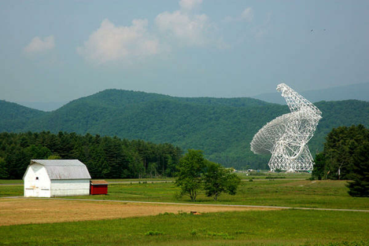 The Green Bank Telescope in a radio-free zone in West Virginia listens for sounds from space.