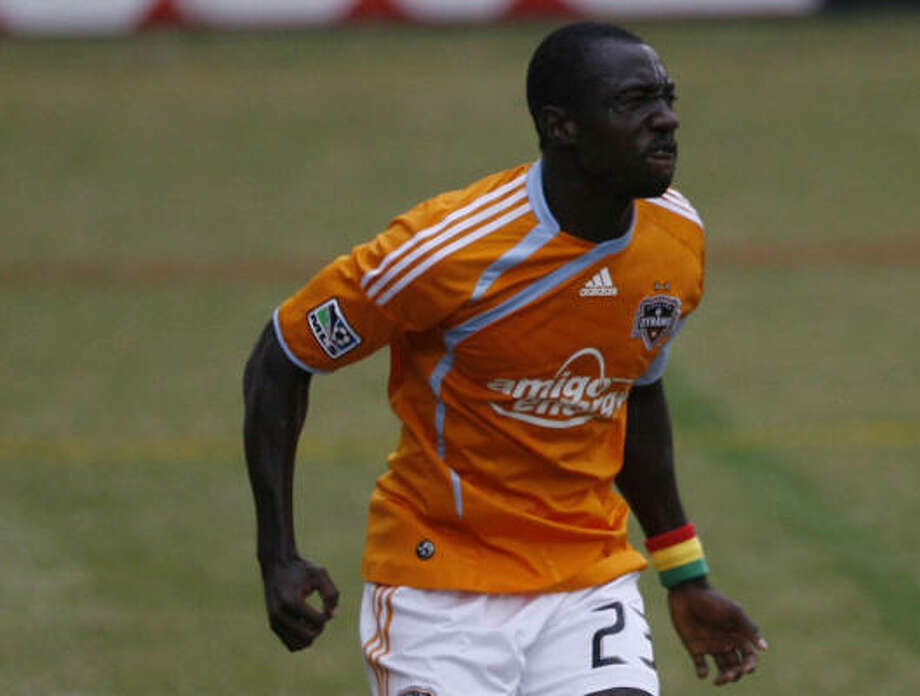 Dominic Oduro gave the Dynamo the lead for good in the 63rd minute. Photo: Julio Cortez, Chronicle File