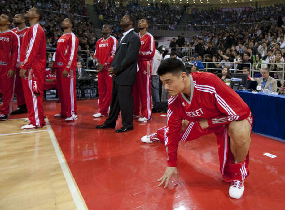 Yao Ming said the Rockets' busy schedule shouldn't slow the team for Saturday's exhibition against the Nets. Photo: Billy Smith II, Chronicle