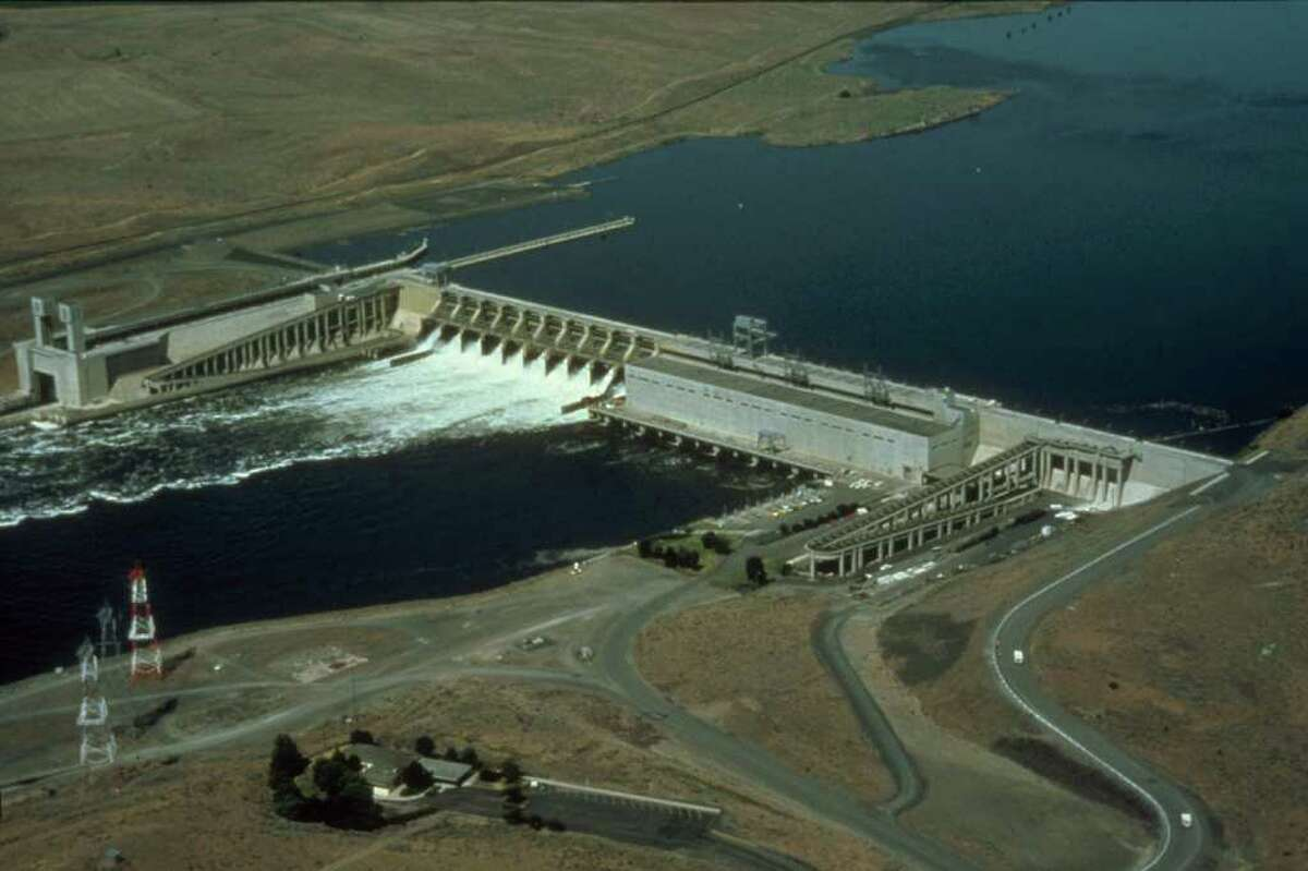 An aerial view of Ice Harbor Dam on the Snake River near Pasco, Wash. The Snake River flows into Washington from Oregon and Idaho.