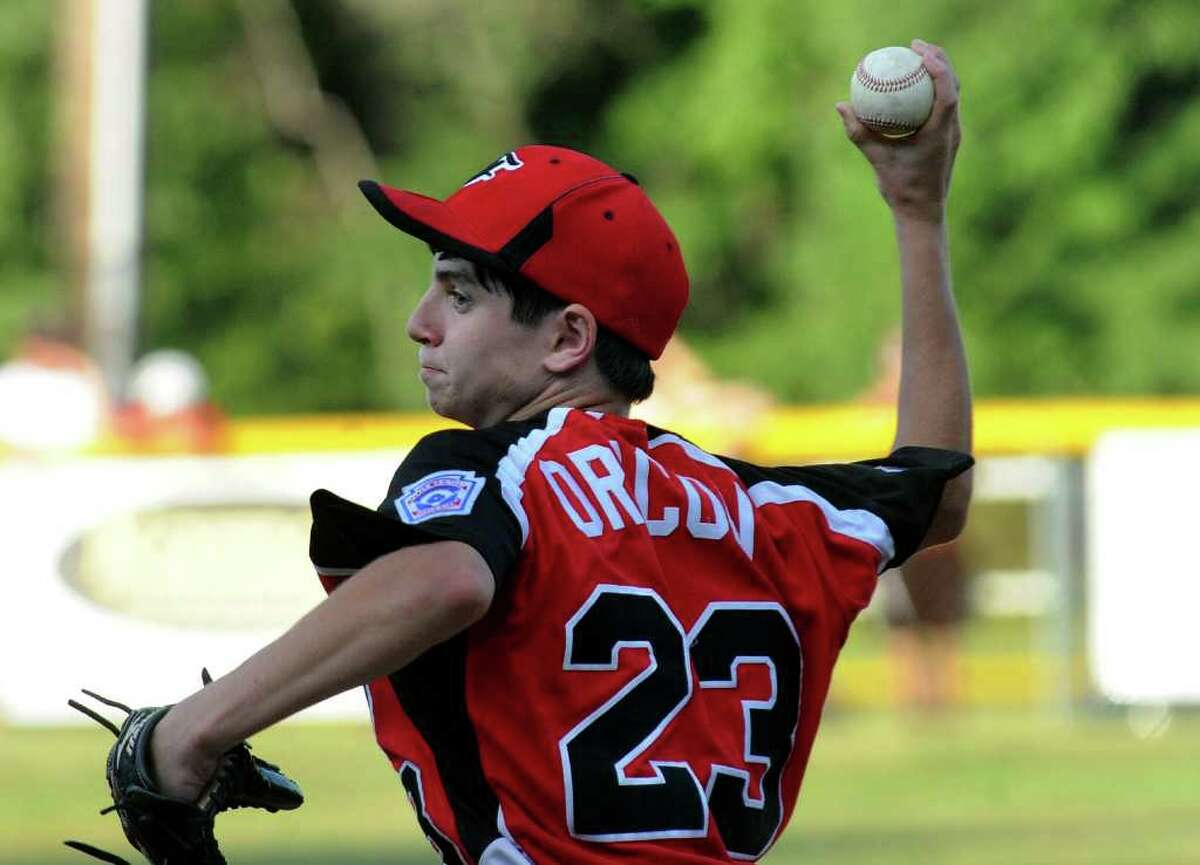 Fairfield American's Jack Oricoli pitches against Glastonbury, during the state little league baseball championship in Prospect, Conn. on Tuesday August 2, 2011.