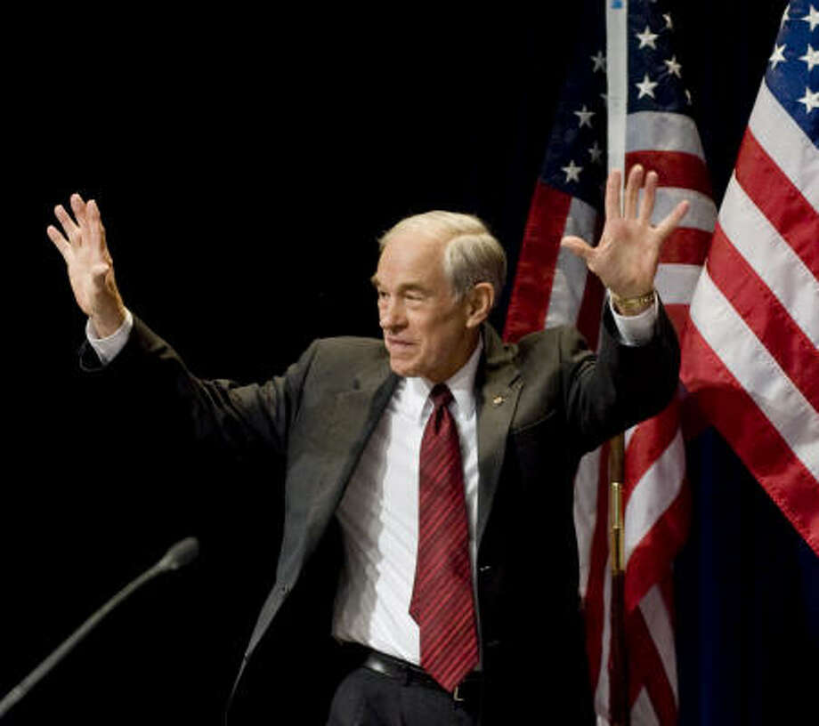 Former presidential candidate Ron Paul addressed the Conservative Political Action Conference in Washington on Friday. On Saturday, he topped a straw poll of the group's activists. Photo: Cliff Owen, Associated Press