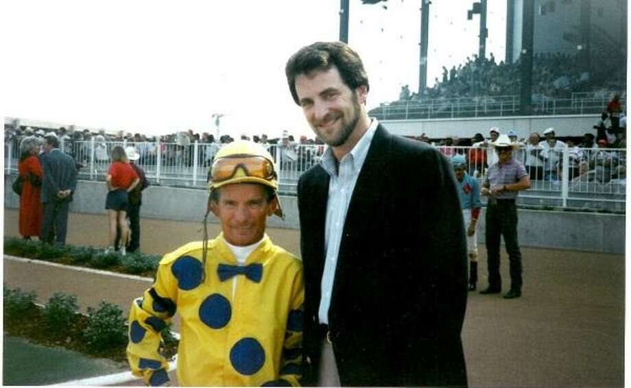 Dr. Jeffrey Kass, right, with one of his former jockeys, the late Bill Shoemaker.