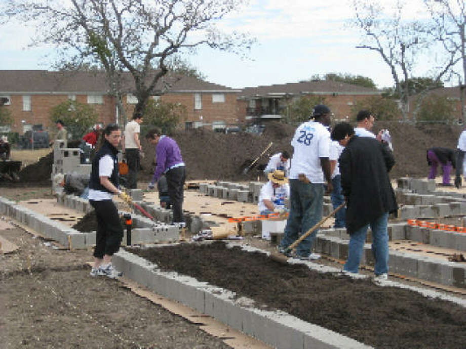 The first planting at Westbury Community Garden. Photo: Urban Harvest