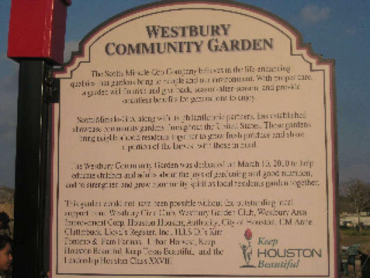 Sign at the Westbury Community Garden.