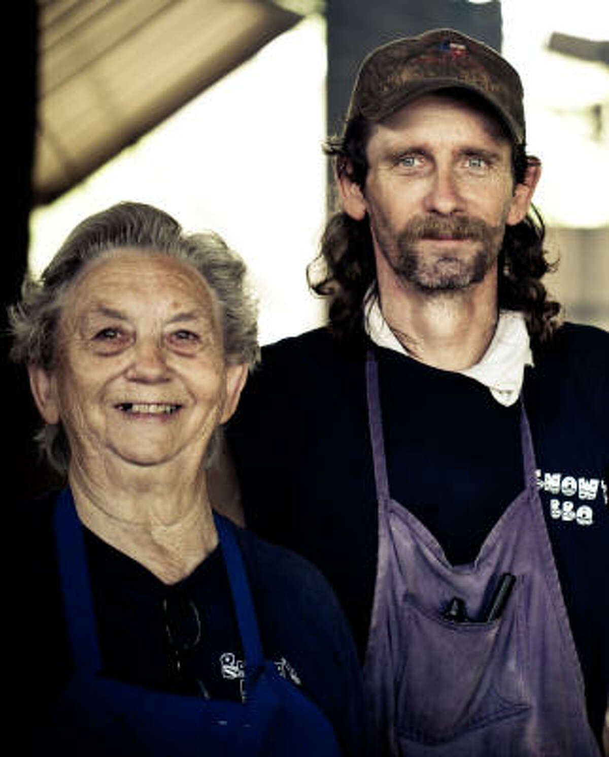 Pit master Tootsie Tomanetz and Hershel Tomanetz turn out mouthwatering fare at Snow's BBQ.