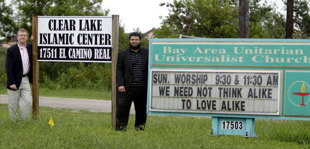 Samuel Schaal, minister of the Bay Area Unitarian Universalist Church, left, and Waleed Basyouni, the imam of the Clear Lake Islamic Center, share a spirit of understanding as well as land. Photo: Karen Warren, Chronicle