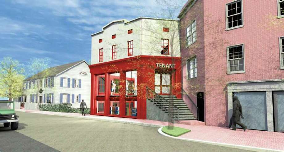 An artist's rendering shows what the Sherwood House, at left, will look like when its renovations are completed. Photo: Contributed Photo / Westport News