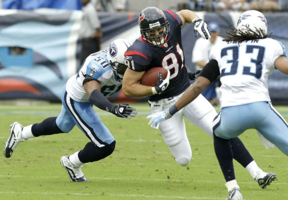 Texans tight end Owen Daniels ranks second in team history with 207 receptions and 2,501 receiving yards. Photo: Brett Coomer, Chronicle
