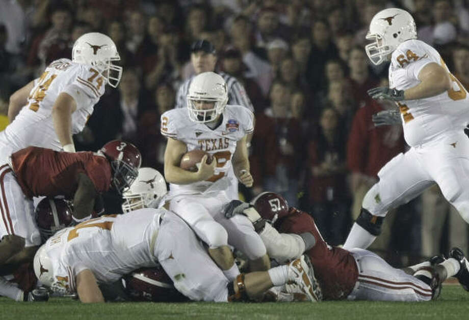 Colt McCoy (12) and Jordan Shipley get the most attention because they're one of the most prolific duos in college history. Photo: Brett Coomer, Chronicle